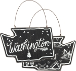 Double Sided State of Washington Wooden Hanging Ornament 6x4.25 from Primitives by Kathy