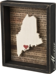 State of Maine Decorative Inset Wooden Box Sign 7 Inch x 8.5 Inch from Primitives by Kathy