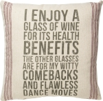 I Enjoy A Glass Of Wine Decorative Cotton Throw Pillow 20x20 from Primitives by Kathy