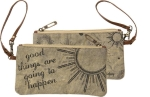 Good Things Are Going To Happen Double Sided Canvas Wristlet Handbag from Primitives by Kathy