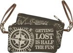 Getting Lost Is Half The Fun Double Sided Canvas Wristlet Handbag from Primitives by Kathy
