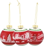 Set of 3 Red & White Chistmas Scenes Hanging Glass Christmas Oranments from Primitives by Kathy