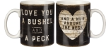 Love You A Bushel And A Peck & A Hug Around The Neck Double Sided Stoneware Coffee Mug 20 Oz from Primitives by Kathy