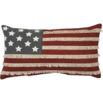 Patrirotic American Flag Canvas Throw Pillow 19x10 from Primitives by Kathy