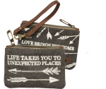 Life Takes You To Unexpected Places Small Wristlet Canvas Handbag from Primitives by Kathy