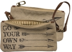 Go Your Own Way Double Sided Canvas & Leather Wristlet Handbag from Primitives by Kathy