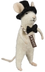 Felt Mouse Figurine Wyatt Groom In Bow Tie & Top Hat 4 Inch from Primitives by Kathy