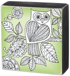 Colorful Decorative Owl Box Sign 4 Inch by Artist O'Mara Books from Primitives by Kathy