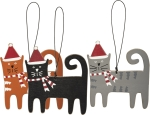 Cat Lover Set of 3 Cat Shaped Wooden Hanging Christmas Ornaments 3.5 Inch from Primitives by Kathy