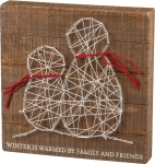 String Art Snowmen Winter Is Warmed By Family & Friends Decorative Wooden Box Sign 10x10 from Primitives by Kathy