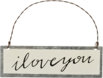 Black & White I Love You Hanging Tin Ornament 4 Inch from Primitives by Kathy