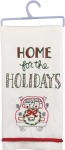 Reindeer & Wreath Home For The Holidays Cotton Dish Towel 18x26 from Primitives by Kathy