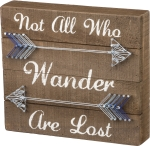 Arrow Design Not All Who Wander Are Lost Decorative String Art Wooden Box Sign 9x8 from Primitives by Kathy