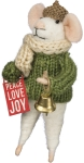 Felt Mouse Figurine (Peace Love Joy) 4.75 Inch from Primitives by Kathy