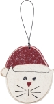 Cat In Santa Hat Decorative Hanging Wooden Christmas Ornament 3.5 Inch from Primitives by Kathy