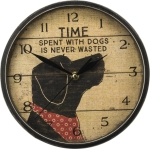 Time Spent With Dogs Is Never Wasted Round Slat Wooden Wall Clock from Primitives by Kathy
