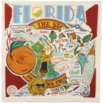Colorful Florida State Themed Cotton Dish Towel 28x28 from Primitives by Kathy
