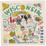 Vibrant Wisconsin State Cotton Dish Towel 28x28 from Primitives by Kathy