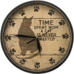 Time Spent With A Cat Is Never Wasted Round Slatted Wooden Wall Clock from Primitives by Kathy