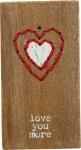 Love You More Stitched Magnetic Wooden Block Sign from Primitives by Kathy