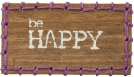 Be Happy Decorative Stitched Magnetic Wooden Block Sign from Primitives by Kathy