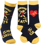 Running Late Is My Cardio Colofully Printed Socks from Primitives by Kathy