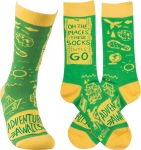 Adventure Awaits Colorfully Printed Socks by Artist LOL Made You Smile from Primitives by Kathy
