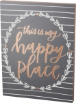 Large Leaf Border Design This Is My Happy Place Decorative Wooden Box Sign 20 Inch x 26.50 Inch from Primitives by Kathy
