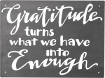 Gratitude Turns What We Have Into Enough Decorative Metal Wall Art Sign 8x6 from Primitives by Kathy