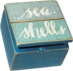 Sea Shells Decorative Slat Wood Hinged Box from Primitives by Kathy