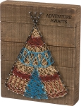 Adventure Awaits Teepee Design String Art Wooden Box Sign 10x8 from Primitives by Kathy