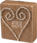 You Make My Heart Happy Wooden String Art Block Sign from Primitives by Kathy