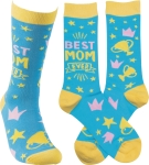 Best Mom Ever Colorfully Printed Sock by Artist LOL Made You Smile from Primitives by Kathy