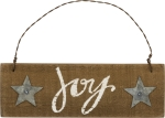 Star Design Joy Slat Wood Hanging Christmas Ornament Sign 6x2 from Primitives by Kathy