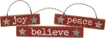 Joy Peace Believe Christmas Hanging Ornament Set from Primitives by Kathy