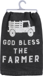 God Bless The Farmer Cotton Dish Towel by Artist Dan DiPaolo from Primitives by Kathy