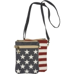 Patriotic Stars & Stripes Canvas & Leather Crossbody Handbag Purse from Primitives by Kathy