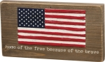 Home Of The Free Because Of The Brave Stitched Magnetic Wooden Block Sign from Primitives by Kathy