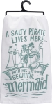 A Pirate & His Beautiful Mermaid Cotton Dish Towel from Primitives by Kathy
