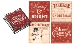 Christmas Themed Absorbent Stoneware Drink Coaster Set of 4 from Primitives by Kathy