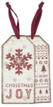 Set of 6 Snowflake Christmas Joy Wooden Wine Bottle Tags from Primitives by Kathy
