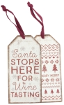 Set of 6 Stops Here For Wine Tasting Wooden Wine Bottle Tags from Primitives by Kathy