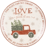 Christmas Tree Truck Love Pass It On Decorative Stoneware Giving Plate 12 Inch from Primitives by Kathy