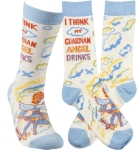 I Think My Guardian Angel Drinks Colorfully Printed Cotton Socks from Primitives by Kathy