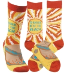 I'd Rather Be At The Beach Colorfully Printed Socks from Primitives by Kathy