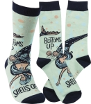 Bottoms Up Shells Off Colorfully Printed Cotton Socks from Primitives by Kathy