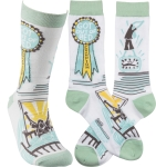 Got Out Of Bed Champion Colorfully Printed Cotton Socks from Primitives by Kathy
