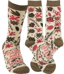 I Think To Myself What A Wonderful World Colorfully Printed Socks from Primitives by Kathy