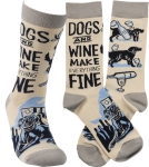 Dogs And Wine Make Everything Fine Colorfully Printed Cotton Socks from Primitives by Kathy