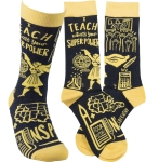 I Teach What's Your Super Power Colorfully Printed Cotton Socks from Primitives by Kathy